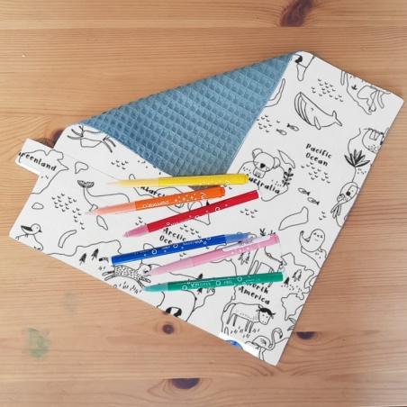 serviette de table - carte du monde - mapacolo