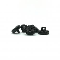 Bouton acrylique fleur noire