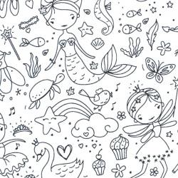 tissu à colorier - princesses-licornes-danseuses