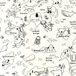 tissu à colorier - carte du monde