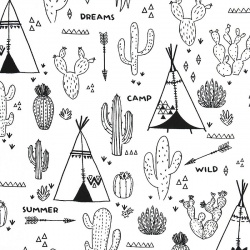 tissu à colorier - indiens - tipis - cactus