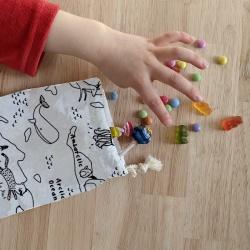 anniversaire zéro-déchet - sac à bonbons - carte du monde