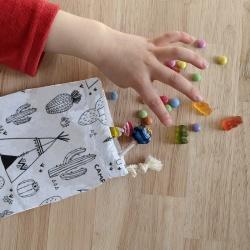 anniversaire zéro-déchet - sac à bonbons - tipi